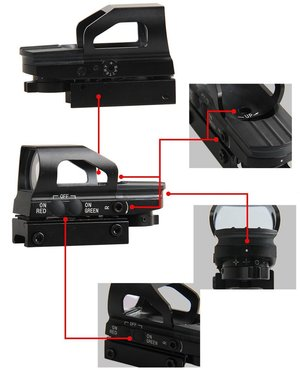 OPT-1007 (1x) Reflex, red/green dot scope (4 options)