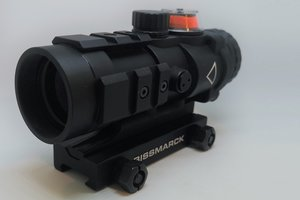 OPT-1008, 3x32 fiber optic natural light red dot ACOG style rifle scope with 3 Picatinny rails.